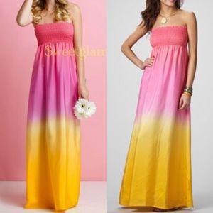 Lilly Pulitzer 100% Silk Ombré Maxi Dress Sz M